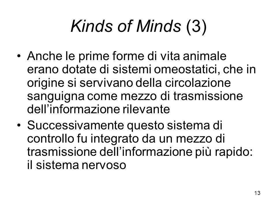 13 Kinds of Minds (3) Anche le prime forme di vita animale erano dotate di sistemi omeostatici, che in origine si servivano della circolazione sanguigna come mezzo di trasmissione dellinformazione rilevante Successivamente questo sistema di controllo fu integrato da un mezzo di trasmissione dellinformazione più rapido: il sistema nervoso