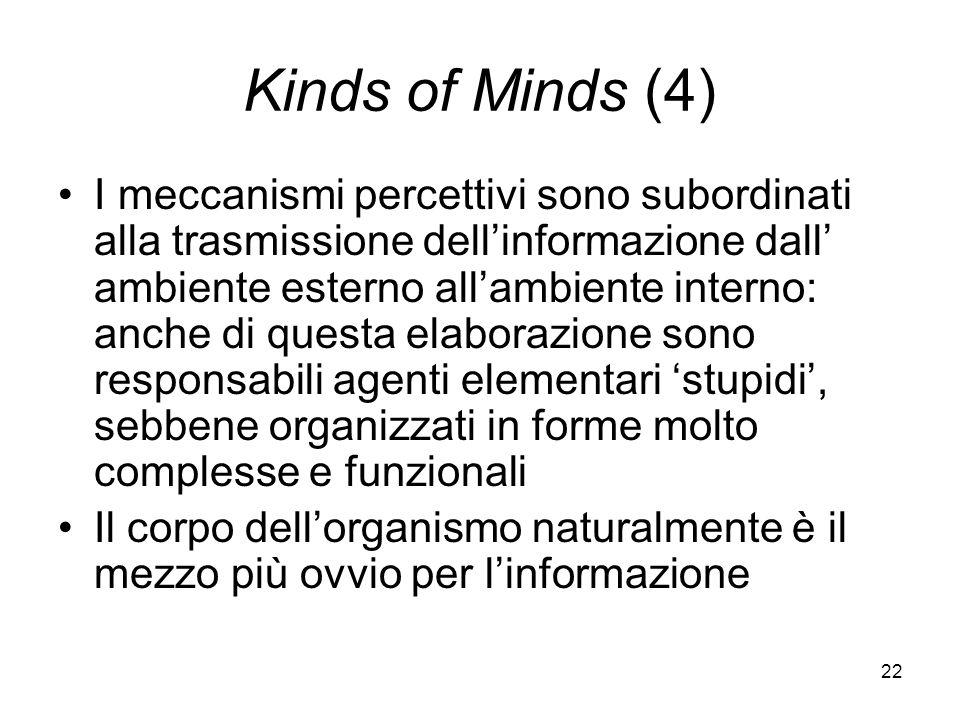22 Kinds of Minds (4) I meccanismi percettivi sono subordinati alla trasmissione dellinformazione dall ambiente esterno allambiente interno: anche di questa elaborazione sono responsabili agenti elementari stupidi, sebbene organizzati in forme molto complesse e funzionali Il corpo dellorganismo naturalmente è il mezzo più ovvio per linformazione