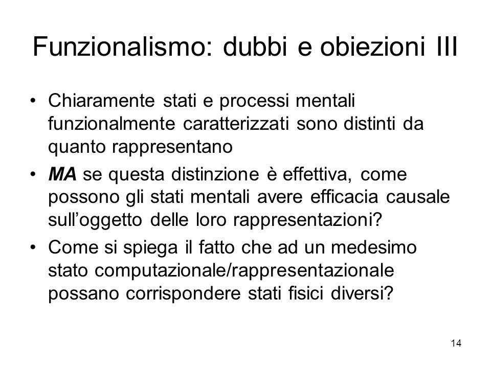14 Funzionalismo: dubbi e obiezioni III Chiaramente stati e processi mentali funzionalmente caratterizzati sono distinti da quanto rappresentano MA se