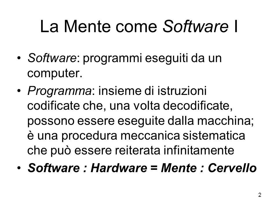2 La Mente come Software I Software: programmi eseguiti da un computer. Programma: insieme di istruzioni codificate che, una volta decodificate, posso