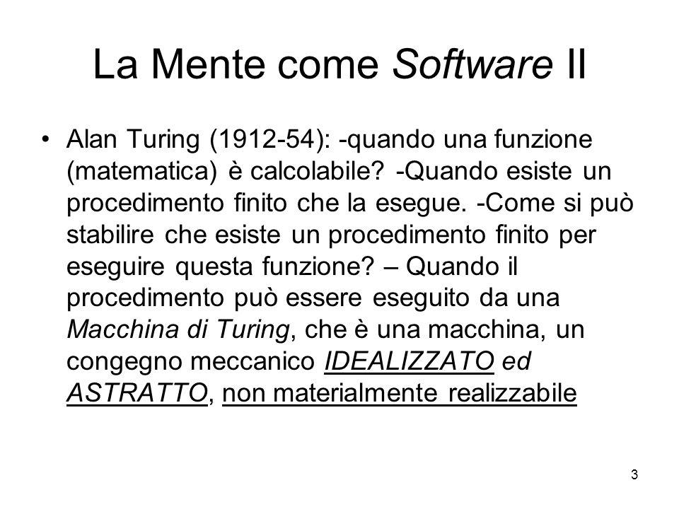 3 La Mente come Software II Alan Turing (1912-54): -quando una funzione (matematica) è calcolabile? -Quando esiste un procedimento finito che la esegu