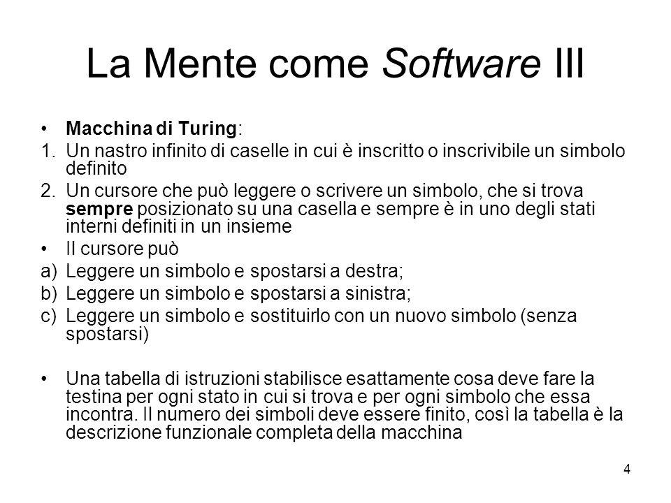4 La Mente come Software III Macchina di Turing: 1.Un nastro infinito di caselle in cui è inscritto o inscrivibile un simbolo definito 2.Un cursore ch