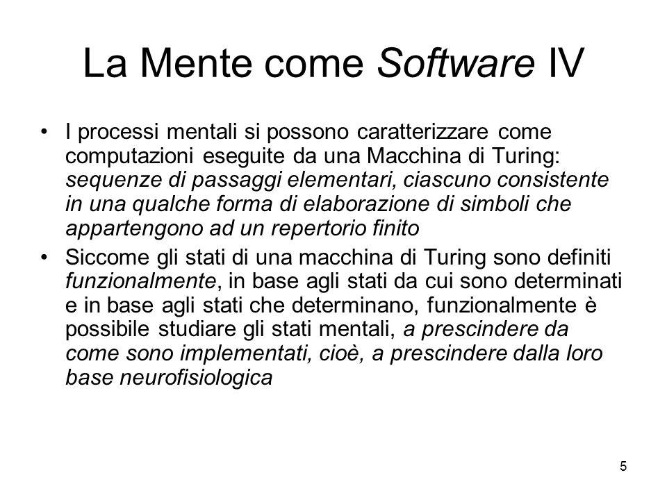 5 La Mente come Software IV I processi mentali si possono caratterizzare come computazioni eseguite da una Macchina di Turing: sequenze di passaggi el