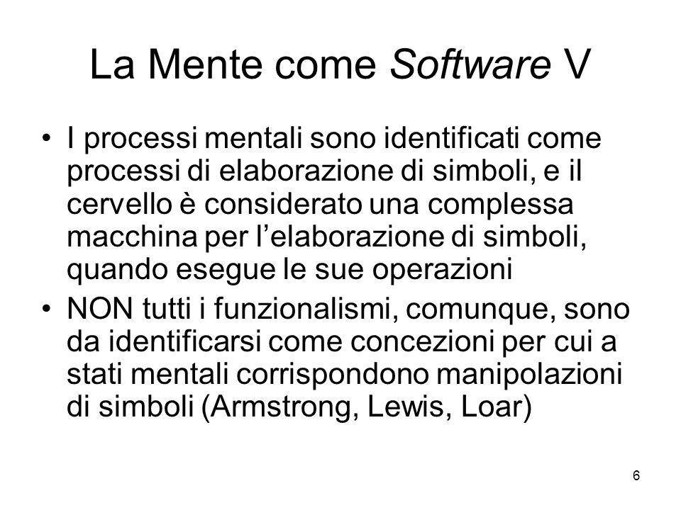 6 La Mente come Software V I processi mentali sono identificati come processi di elaborazione di simboli, e il cervello è considerato una complessa ma