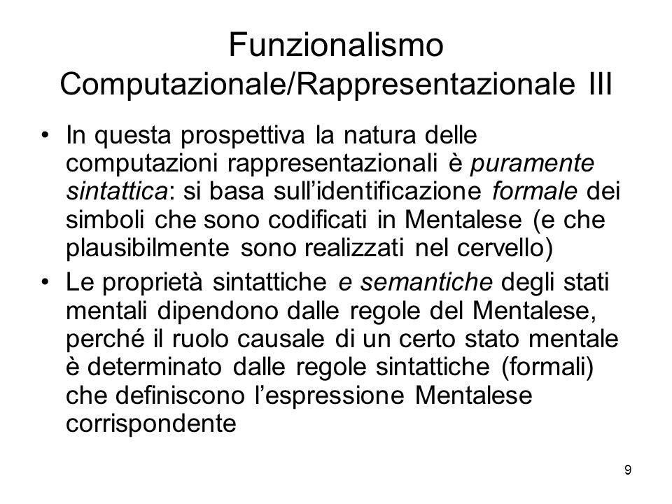 9 Funzionalismo Computazionale/Rappresentazionale III In questa prospettiva la natura delle computazioni rappresentazionali è puramente sintattica: si