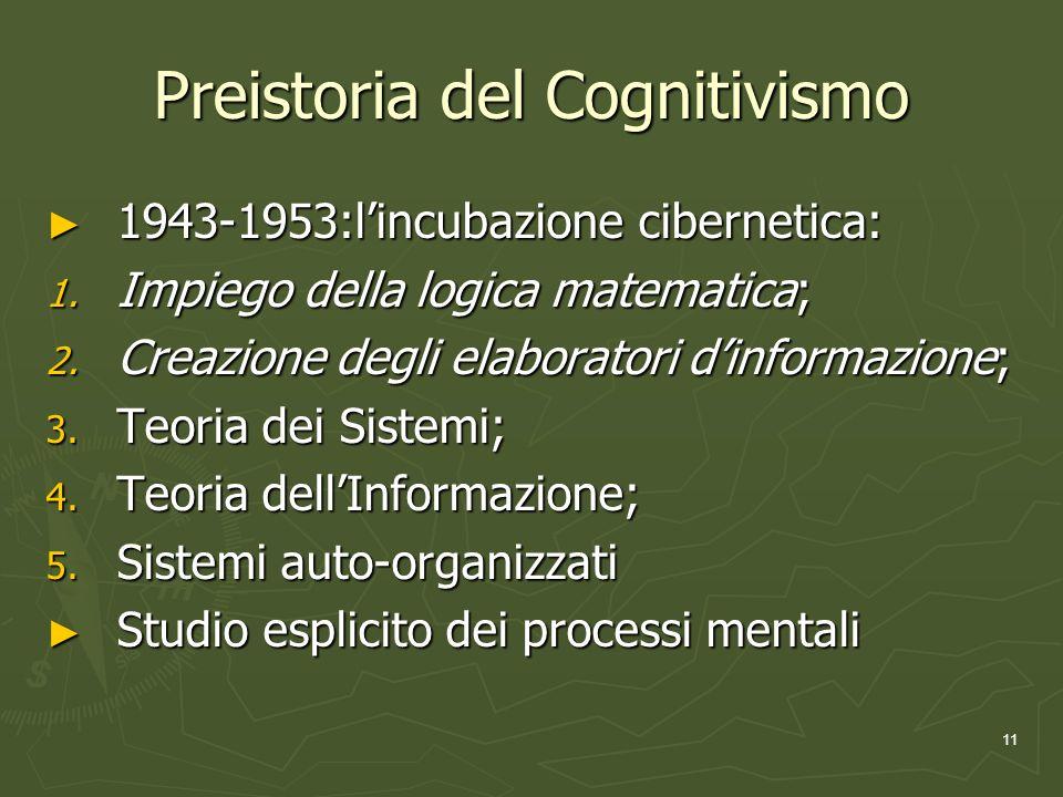 11 Preistoria del Cognitivismo 1943-1953:lincubazione cibernetica: 1943-1953:lincubazione cibernetica: 1.
