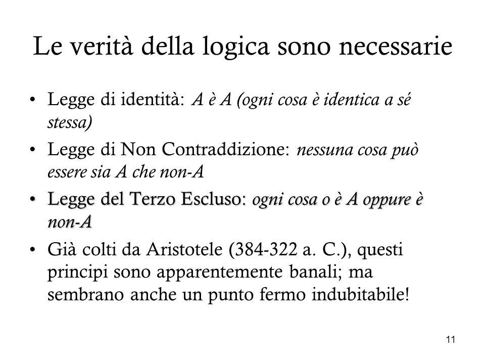 11 Le verità della logica sono necessarie Legge di identità: A è A (ogni cosa è identica a sé stessa) Legge di Non Contraddizione: nessuna cosa può es