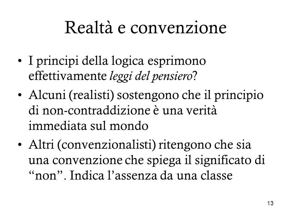 13 Realtà e convenzione I principi della logica esprimono effettivamente leggi del pensiero ? Alcuni (realisti) sostengono che il principio di non-con
