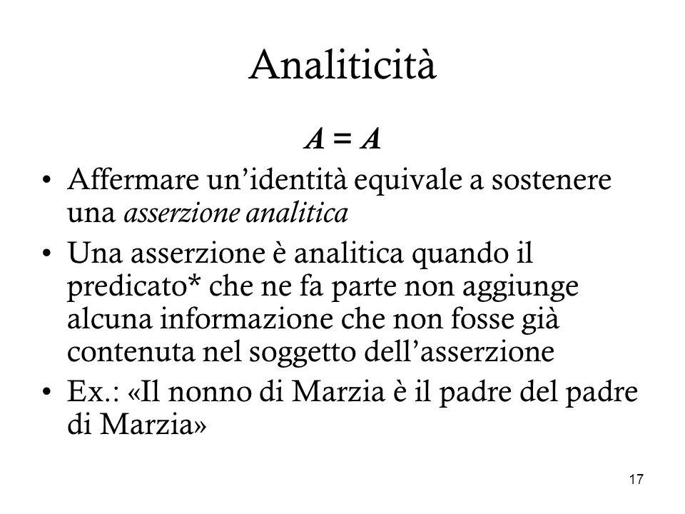17 Analiticità A = A Affermare unidentità equivale a sostenere una asserzione analitica Una asserzione è analitica quando il predicato* che ne fa part