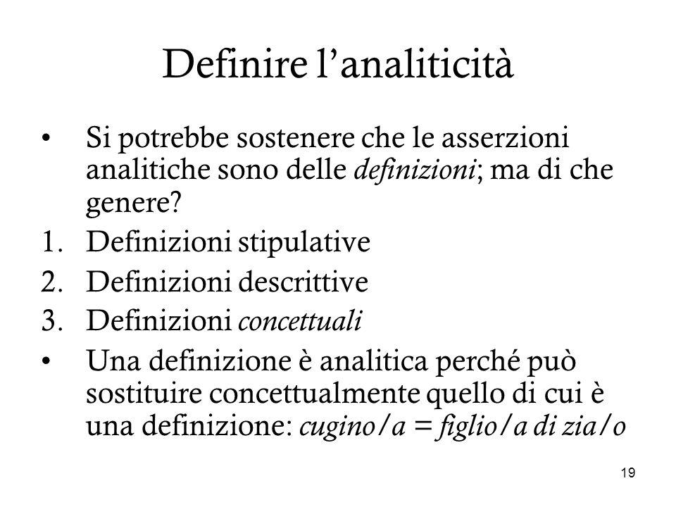 19 Definire lanaliticità Si potrebbe sostenere che le asserzioni analitiche sono delle definizioni ; ma di che genere? 1.Definizioni stipulative 2.Def