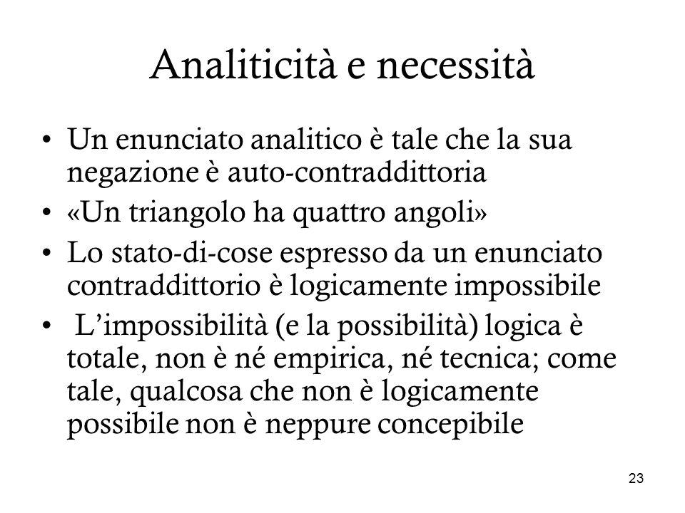 23 Analiticità e necessità Un enunciato analitico è tale che la sua negazione è auto-contraddittoria «Un triangolo ha quattro angoli» Lo stato-di-cose