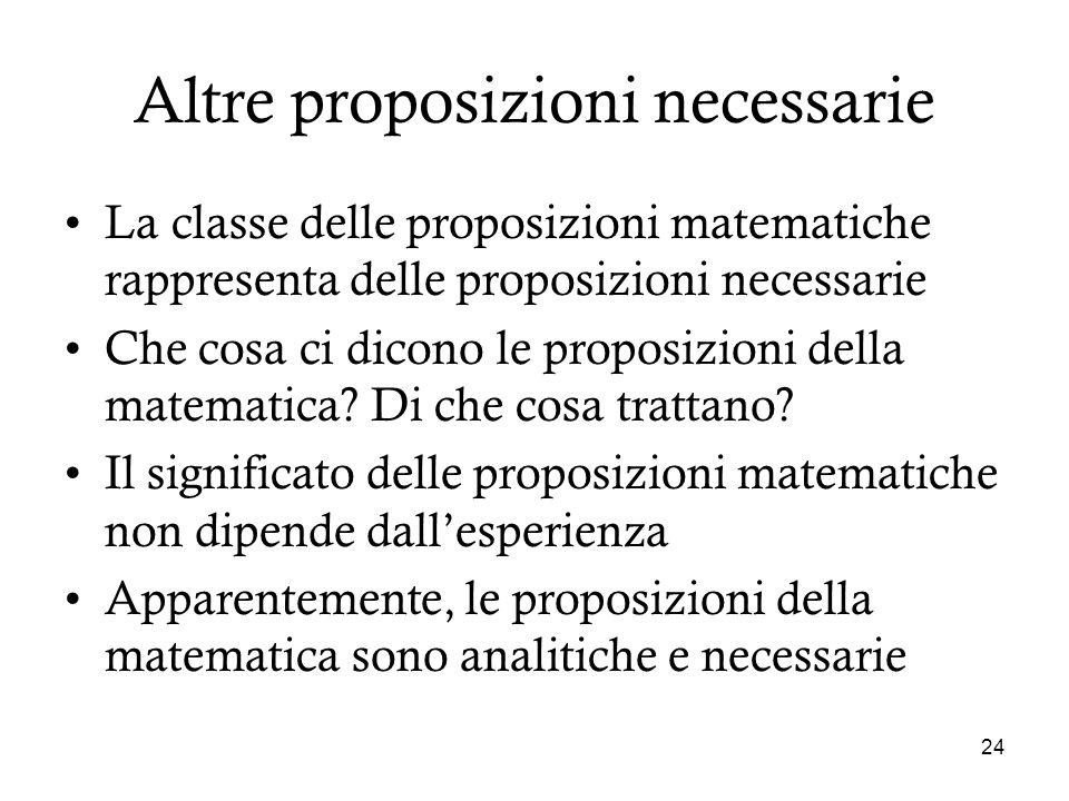 24 Altre proposizioni necessarie La classe delle proposizioni matematiche rappresenta delle proposizioni necessarie Che cosa ci dicono le proposizioni