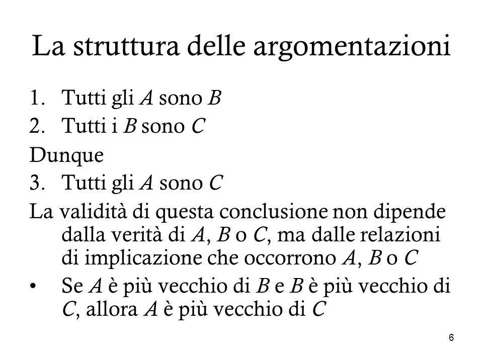 6 La struttura delle argomentazioni 1.Tutti gli A sono B 2.Tutti i B sono C Dunque 3.Tutti gli A sono C La validità di questa conclusione non dipende