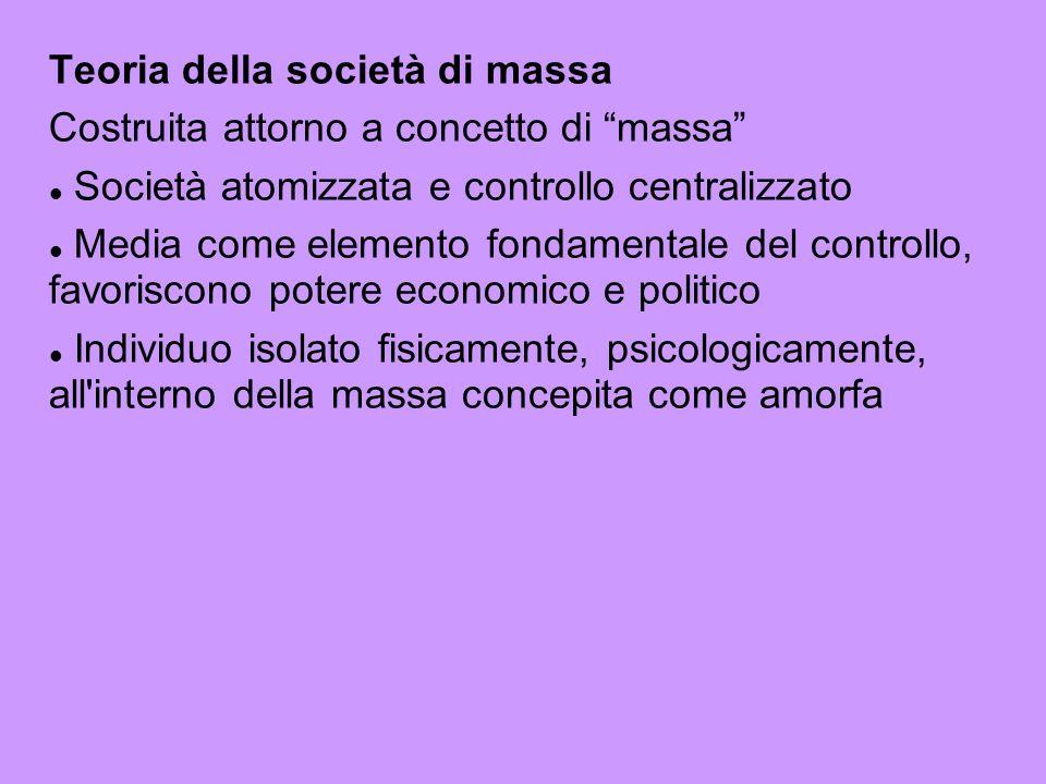 Teoria della società di massa Costruita attorno a concetto di massa Società atomizzata e controllo centralizzato Media come elemento fondamentale del