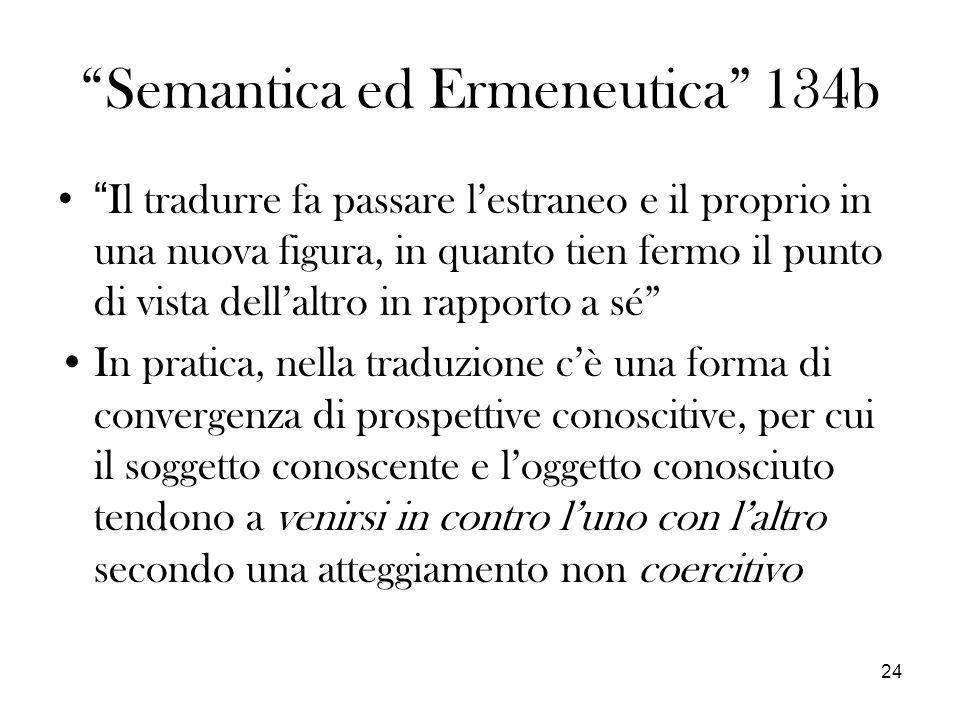 24 Semantica ed Ermeneutica 134b Il tradurre fa passare lestraneo e il proprio in una nuova figura, in quanto tien fermo il punto di vista dellaltro i