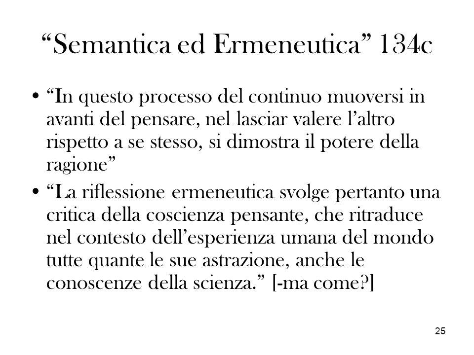 25 Semantica ed Ermeneutica 134c In questo processo del continuo muoversi in avanti del pensare, nel lasciar valere laltro rispetto a se stesso, si di