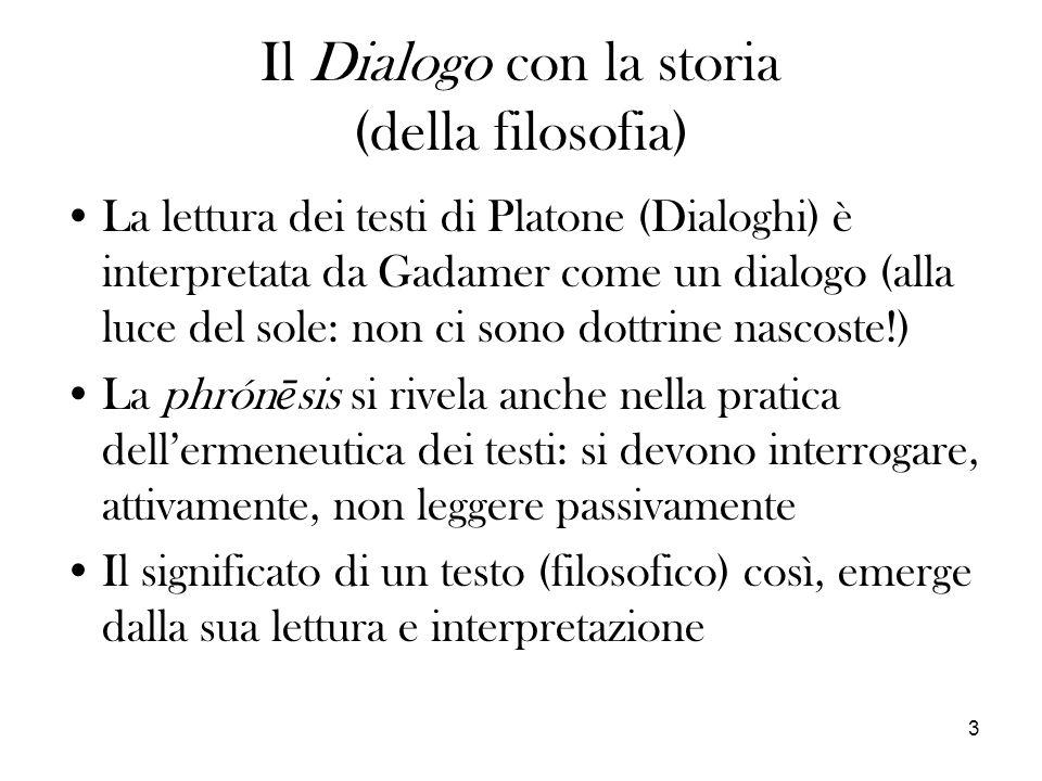 3 Il Dialogo con la storia (della filosofia) La lettura dei testi di Platone (Dialoghi) è interpretata da Gadamer come un dialogo (alla luce del sole: