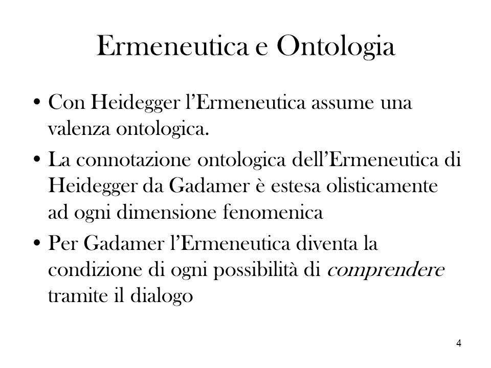 4 Ermeneutica e Ontologia Con Heidegger lErmeneutica assume una valenza ontologica. La connotazione ontologica dellErmeneutica di Heidegger da Gadamer