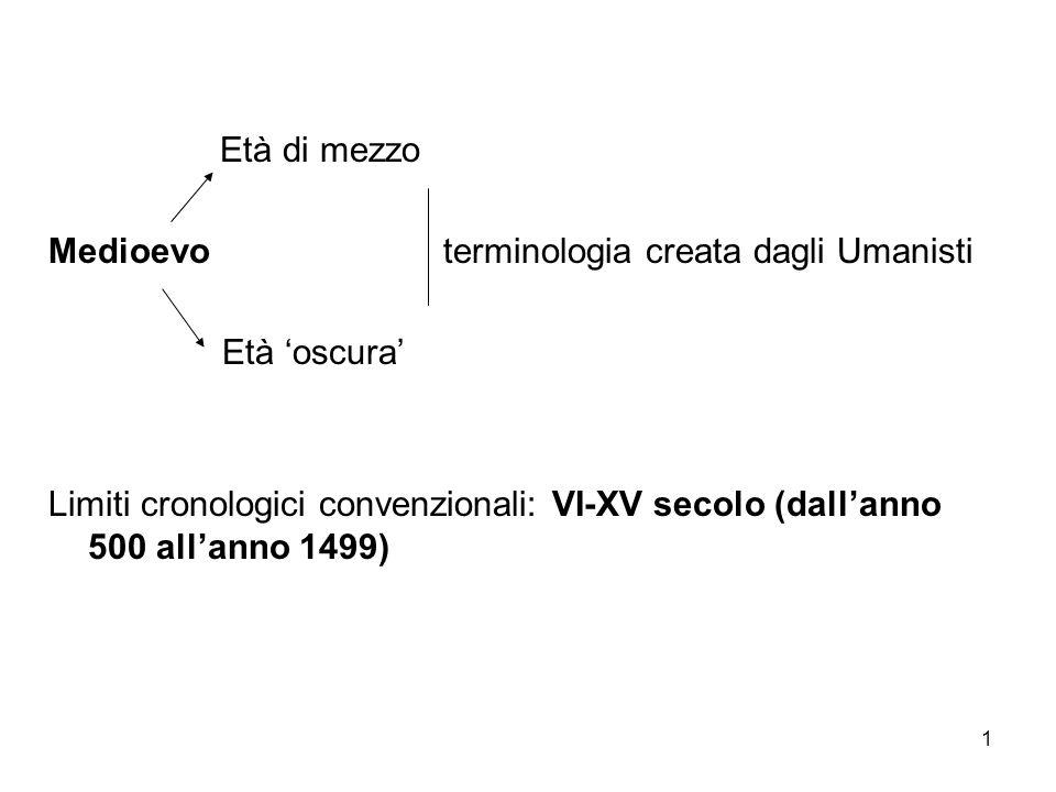 1 Età di mezzo Medioevo terminologia creata dagli Umanisti Età oscura Limiti cronologici convenzionali: VI-XV secolo (dallanno 500 allanno 1499)