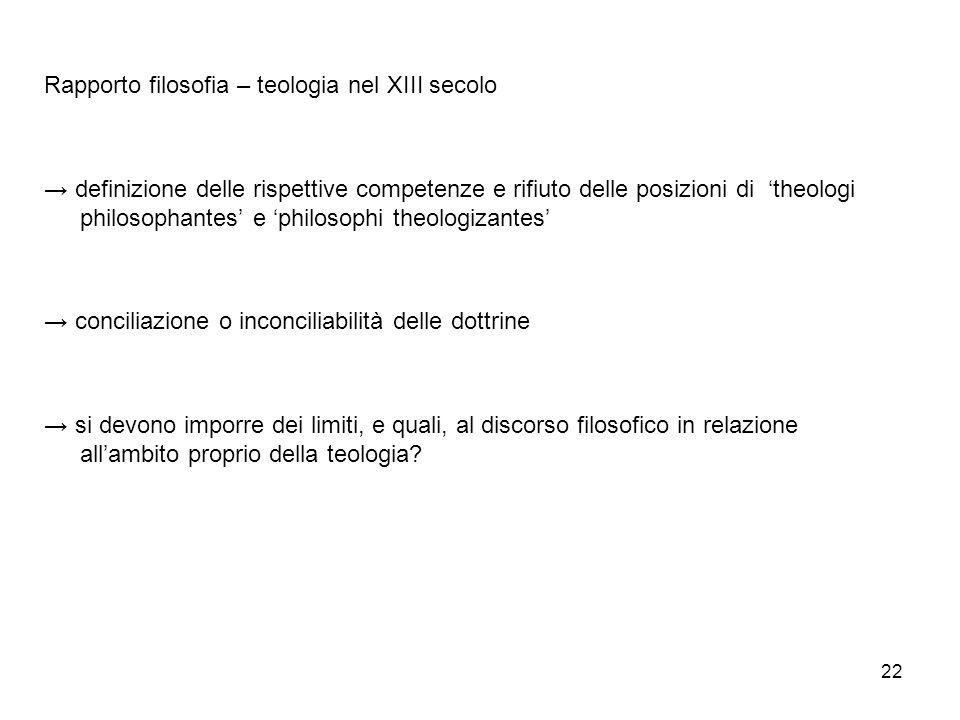 22 Rapporto filosofia – teologia nel XIII secolo definizione delle rispettive competenze e rifiuto delle posizioni di theologi philosophantes e philos