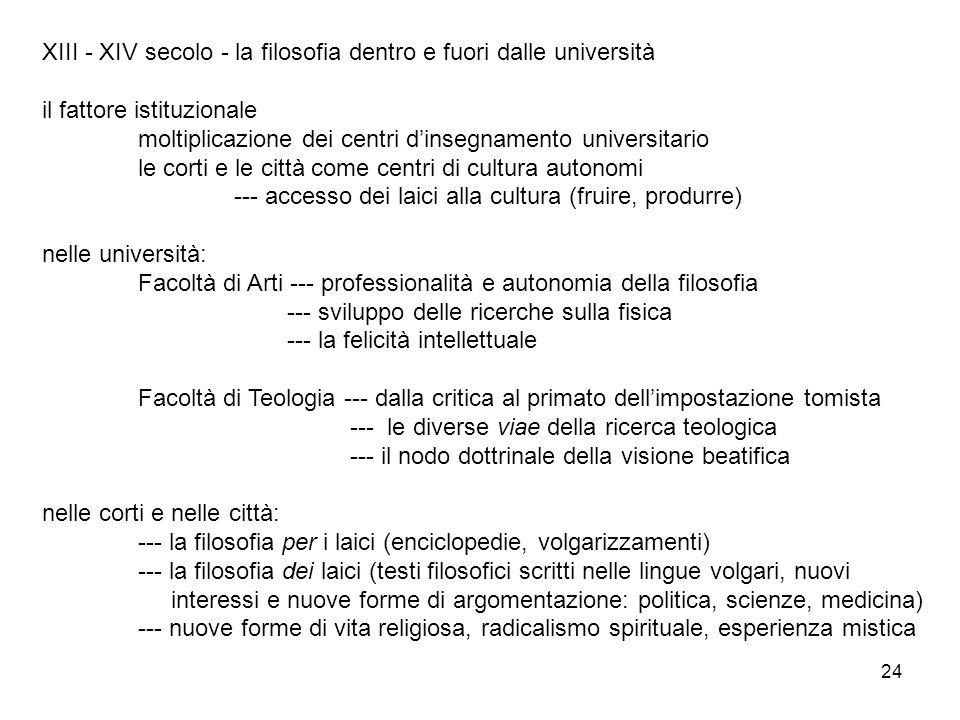 24 XIII - XIV secolo - la filosofia dentro e fuori dalle università il fattore istituzionale moltiplicazione dei centri dinsegnamento universitario le