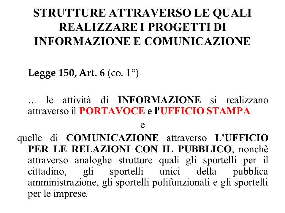 STRUTTURE ATTRAVERSO LE QUALI REALIZZARE I PROGETTI DI INFORMAZIONE E COMUNICAZIONE Legge 150, Art.