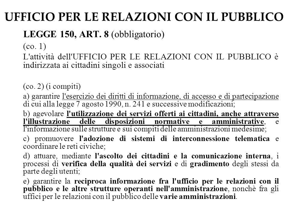 UFFICIO PER LE RELAZIONI CON IL PUBBLICO LEGGE 150, ART.
