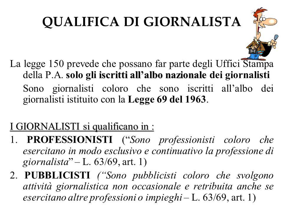 QUALIFICA DI GIORNALISTA iscritti allalbo nazionale La legge 150 prevede che possano far parte degli Uffici Stampa della P.A.