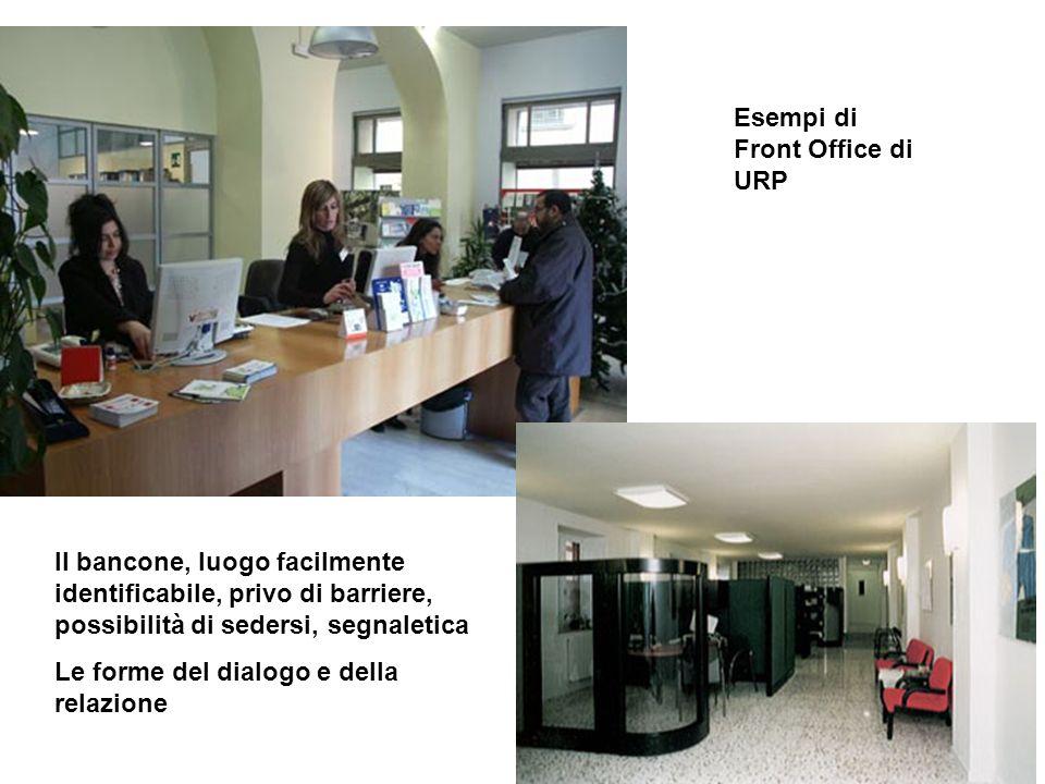 Esempi di Front Office di URP Il bancone, luogo facilmente identificabile, privo di barriere, possibilità di sedersi, segnaletica Le forme del dialogo e della relazione