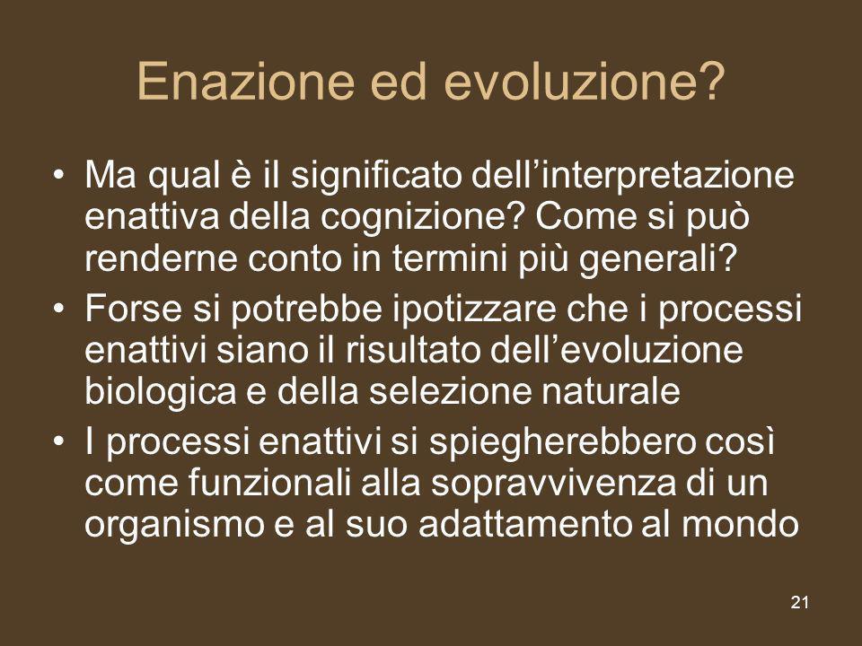 21 Enazione ed evoluzione.Ma qual è il significato dellinterpretazione enattiva della cognizione.