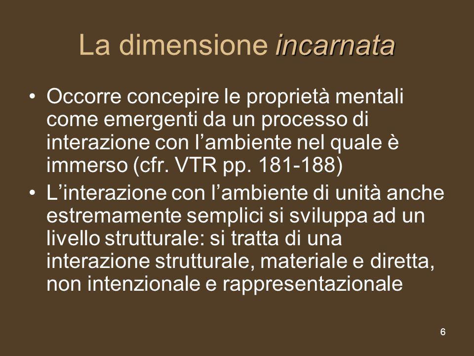6 incarnata La dimensione incarnata Occorre concepire le proprietà mentali come emergenti da un processo di interazione con lambiente nel quale è immerso (cfr.
