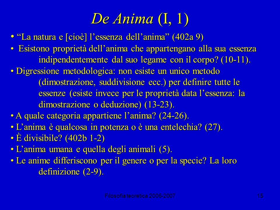 Filosofia teoretica 2006-200715 De Anima (I, 1) La natura e [cioè] lessenza dellanima (402a 9) La natura e [cioè] lessenza dellanima (402a 9) Esistono proprietà dellanima che appartengano alla sua essenza indipendentemente dal suo legame con il corpo.