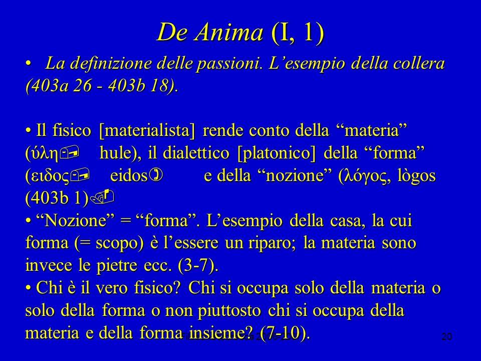 Filosofia teoretica 2006-200720 De Anima (I, 1) La definizione delle passioni.