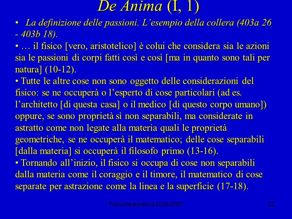 Filosofia teoretica 2006-200722 De Anima (I, 1) La definizione delle passioni.