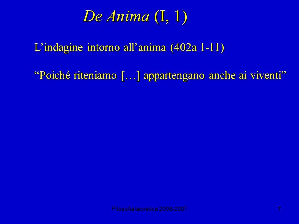 Filosofia teoretica 2006-20077 De Anima (I, 1) Lindagine intorno allanima (402a 1-11) Poiché riteniamo […] appartengano anche ai viventi