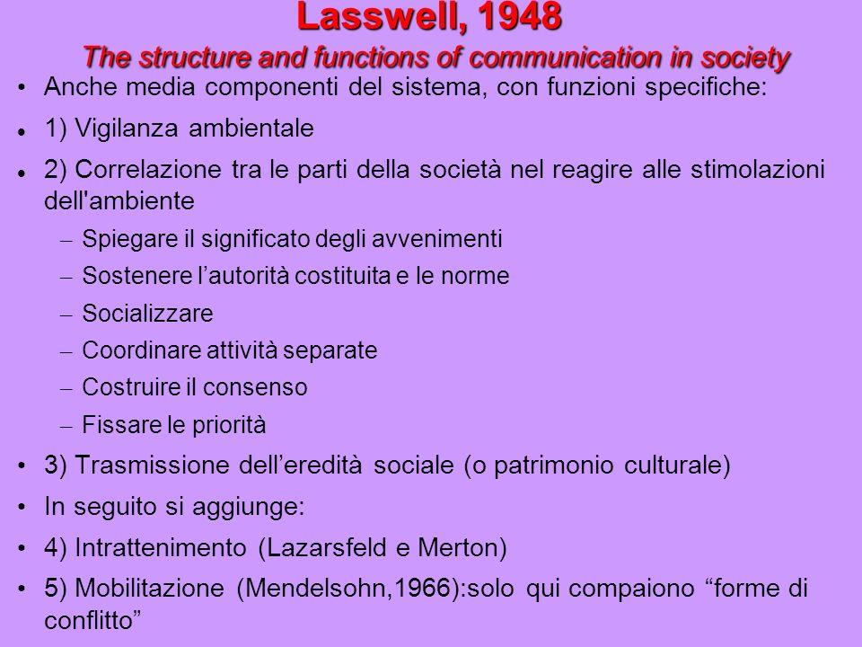 Lasswell, 1948 Modello delle 5 W Si dà comunicazione se è possibile rispondere ai 5 interrogativi: CHI comunica COSA a CHI attraverso QUALE CANALE e con QUALI EFFETTI (w) Sistematizza ambito della Communication Research Ma ambiguità della sociologia funzionalista (e tutto PD): Polo ricezione.