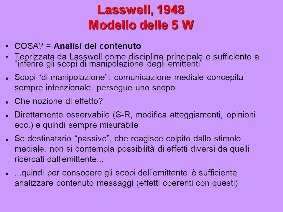 Lasswell, 1948 Modello delle 5 W COSA? = Analisi del contenuto Teorizzata da Lasswell come disciplina principale e sufficiente a inferire gli scopi di