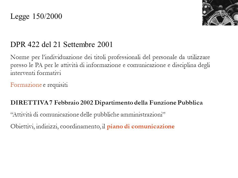 Legge 150/2000 DPR 422 del 21 Settembre 2001 Norme per lindividuazione dei titoli professionali del personale da utilizzare presso le PA per le attivi