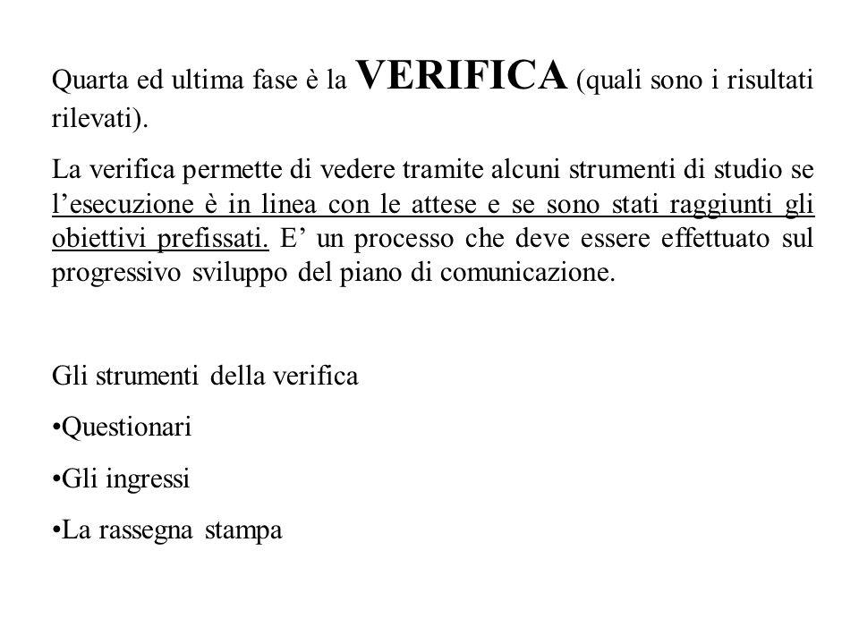 Quarta ed ultima fase è la VERIFICA (quali sono i risultati rilevati). La verifica permette di vedere tramite alcuni strumenti di studio se lesecuzion