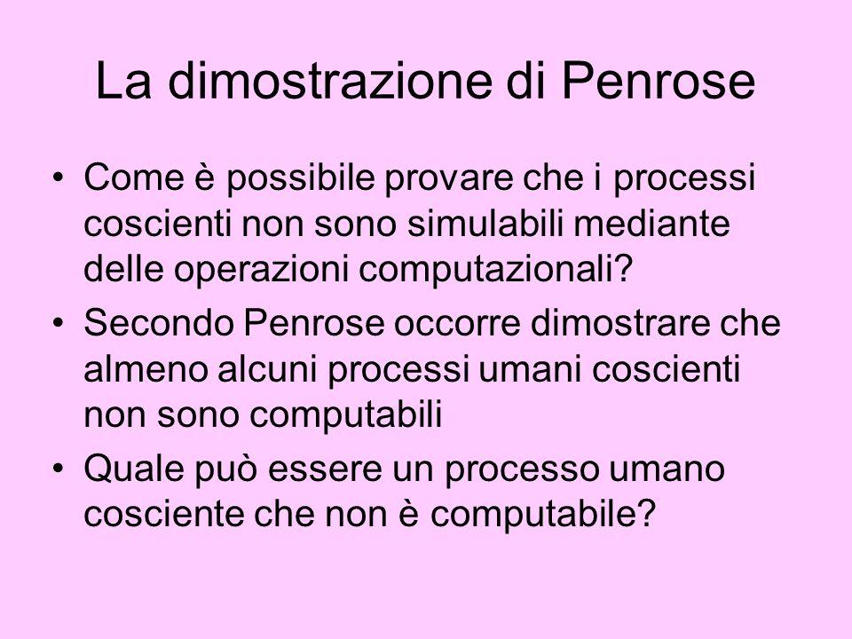 La dimostrazione di Penrose Come è possibile provare che i processi coscienti non sono simulabili mediante delle operazioni computazionali? Secondo Pe