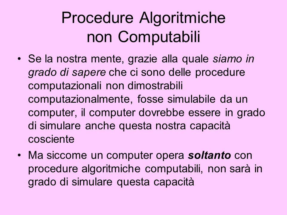 Procedure Algoritmiche non Computabili Se la nostra mente, grazie alla quale siamo in grado di sapere che ci sono delle procedure computazionali non d