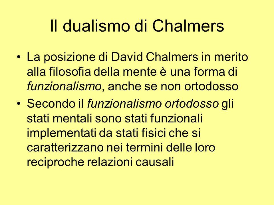 Il dualismo di Chalmers La posizione di David Chalmers in merito alla filosofia della mente è una forma di funzionalismo, anche se non ortodosso Secon
