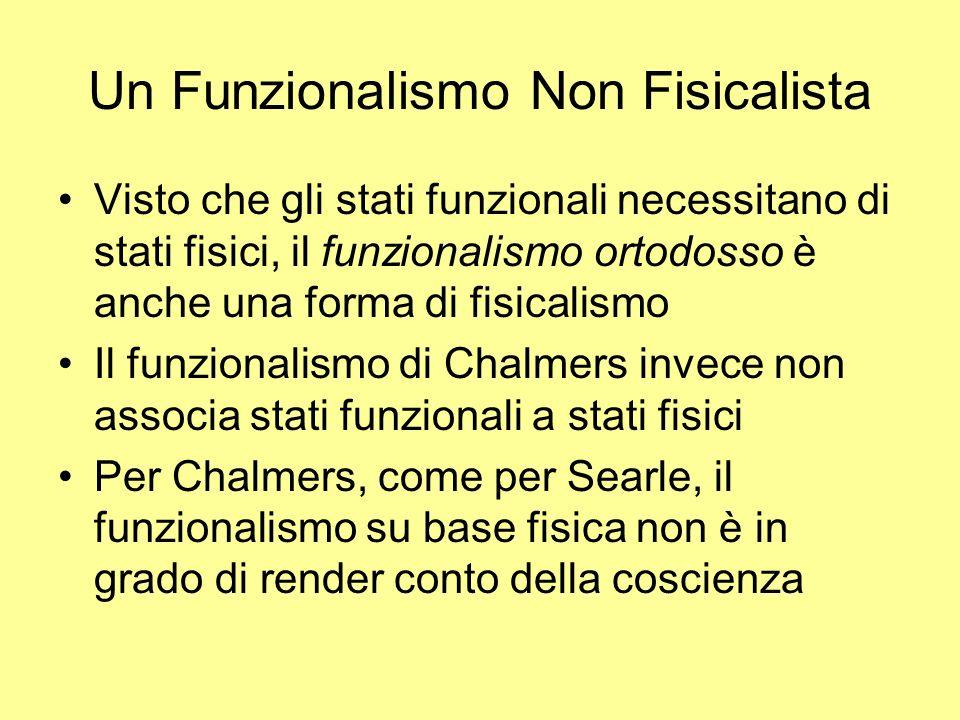 Un Funzionalismo Non Fisicalista Visto che gli stati funzionali necessitano di stati fisici, il funzionalismo ortodosso è anche una forma di fisicalis