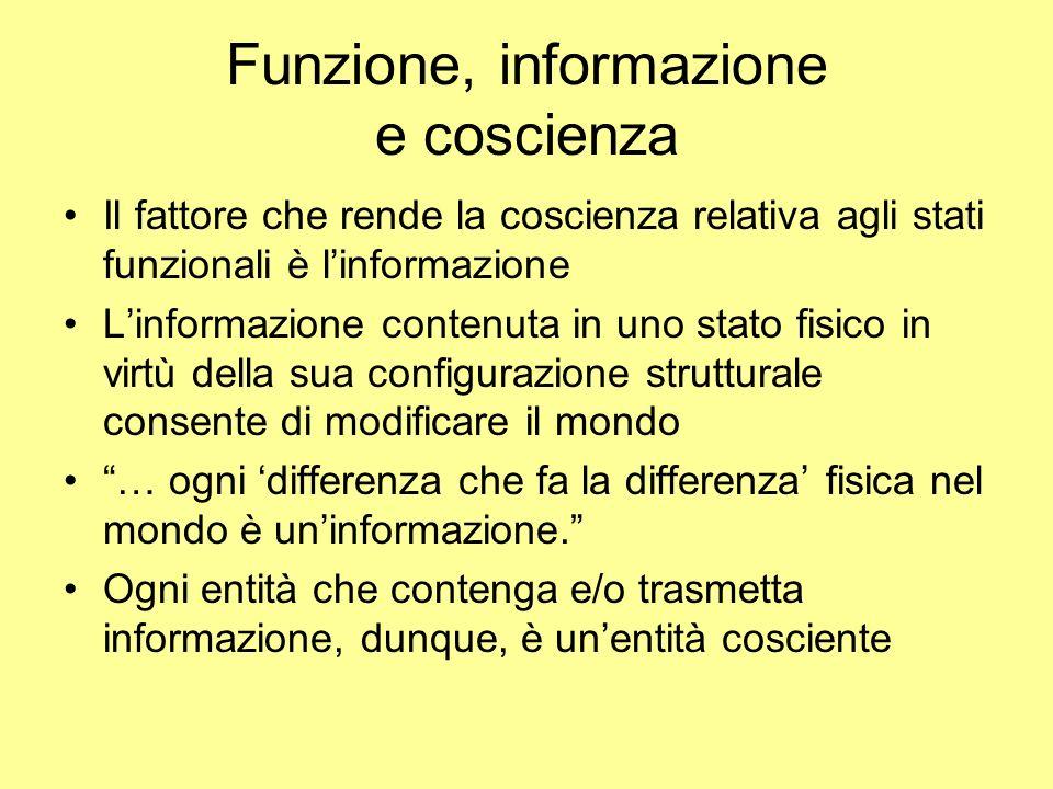 Funzione, informazione e coscienza Il fattore che rende la coscienza relativa agli stati funzionali è linformazione Linformazione contenuta in uno sta
