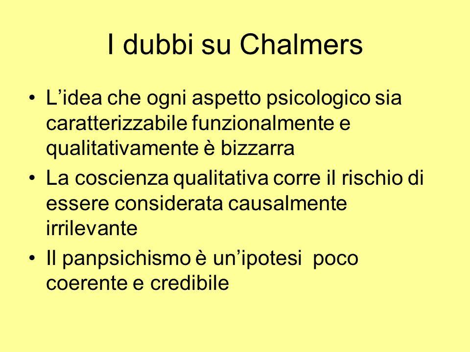 I dubbi su Chalmers Lidea che ogni aspetto psicologico sia caratterizzabile funzionalmente e qualitativamente è bizzarra La coscienza qualitativa corr