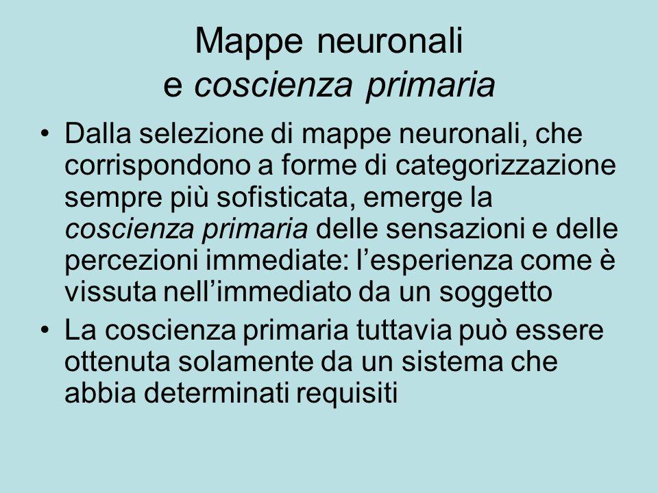 Mappe neuronali e coscienza primaria Dalla selezione di mappe neuronali, che corrispondono a forme di categorizzazione sempre più sofisticata, emerge