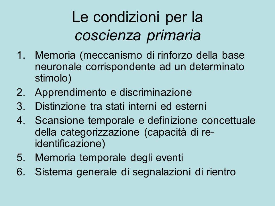 Le condizioni per la coscienza primaria 1.Memoria (meccanismo di rinforzo della base neuronale corrispondente ad un determinato stimolo) 2.Apprendimen