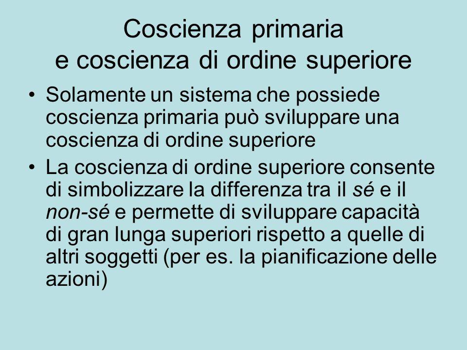 Coscienza primaria e coscienza di ordine superiore Solamente un sistema che possiede coscienza primaria può sviluppare una coscienza di ordine superio