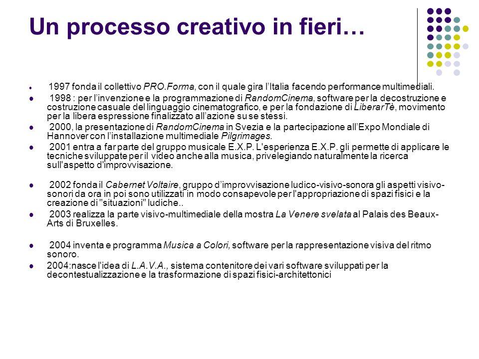 1997 fonda il collettivo PRO.Forma, con il quale gira l Italia facendo performance multimediali. 1998 : per l invenzione e la programmazione di Random