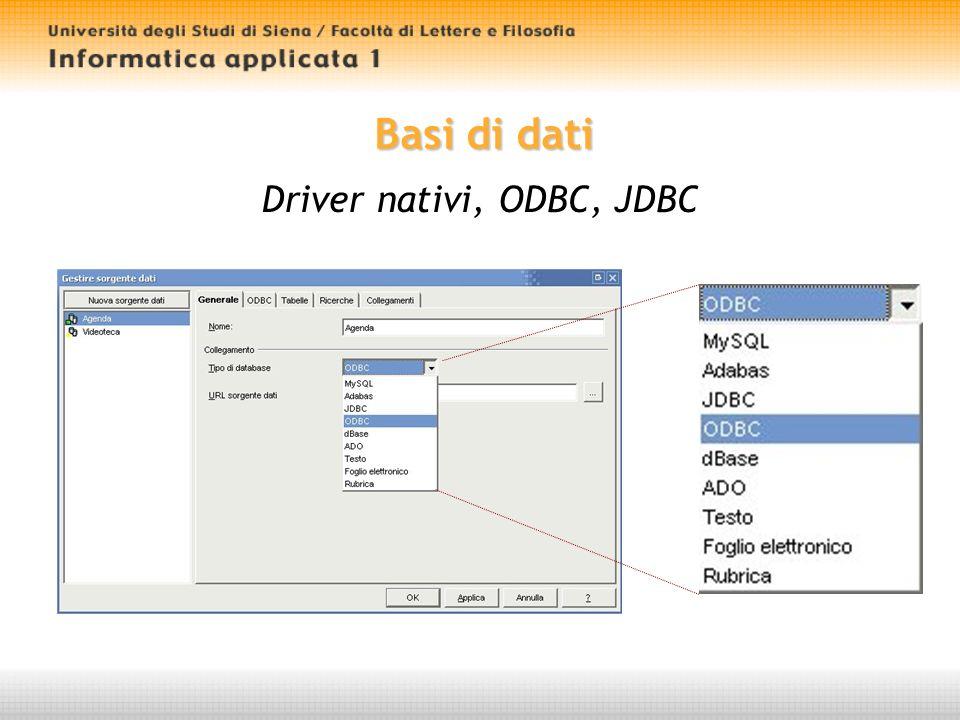 Basi di dati Driver nativi, ODBC, JDBC